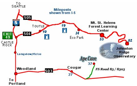 ape cave driving map