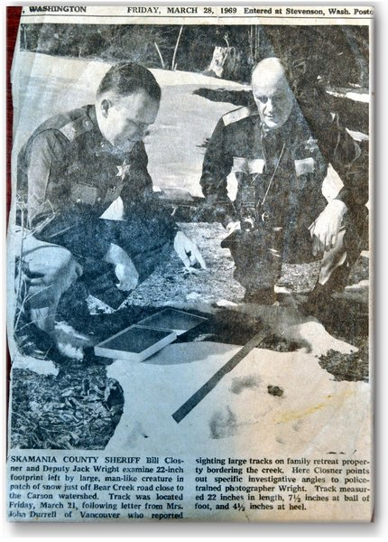 Skamania County Sheriiff measures Bigfoot Print